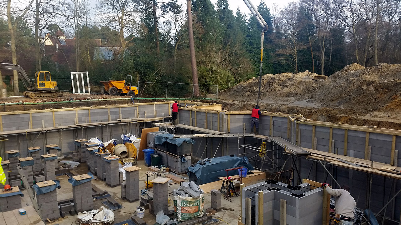 Basement Structures working on a new build project in Ascot